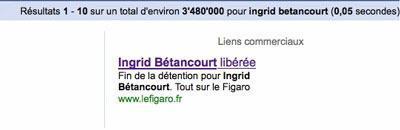 Médiatisation libération d'Ingrid Bétancourt