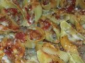 conchiglionis farcis viande boeuf, sauce tomates béchamel