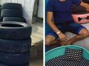 L'homme transforme pneus usés beaux lits pour animaux