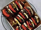 Aubergines farcies tomates halloumi