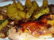 Poulet mariné fritte courgette croustil-fondante four