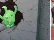 artiste griffonne différents personnages originaux dans rues utilisant uniquement craie photos)