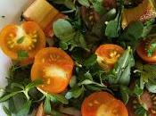 Salade pourpier, tomate rhubarbe rôtie vinaigre balsamique